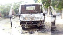 queman camión repartidor de agua en Chamelecón